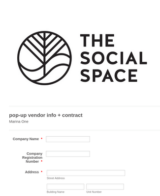 THE SOCIAL SPACE // POP UP VENDOR CONTRACT Form Template