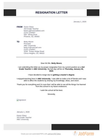 Teacher Resignation Letter Pdf