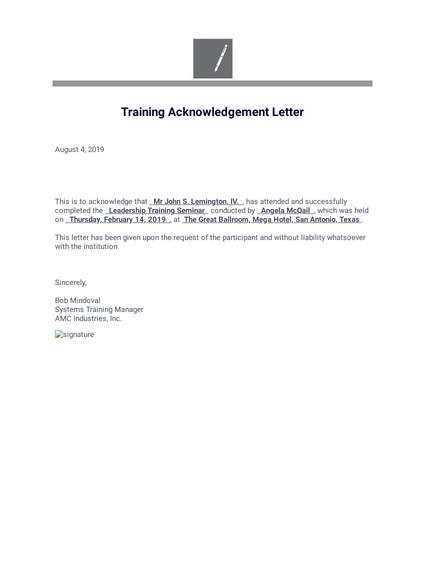 training acknowledgement form pdf