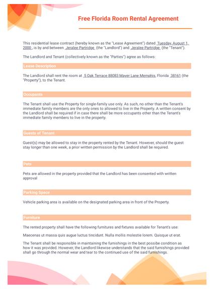 Contact details of both parties; Free Florida Room Rental Agreement Template Pdf Templates Jotform