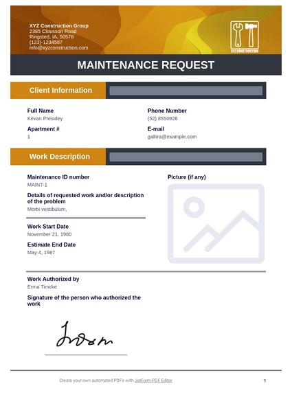 Maintenance Request Template Pdf