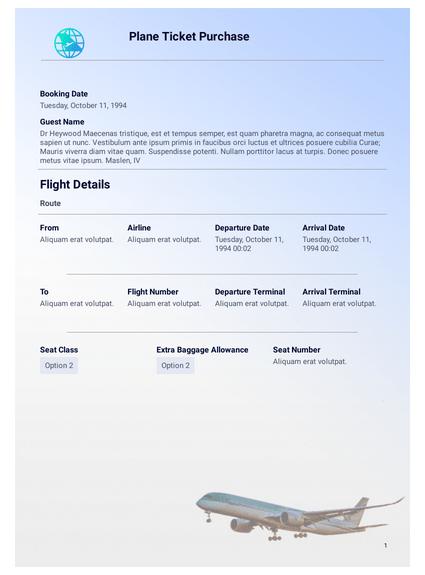 Fake Plane Ticket Generator : plane, ticket, generator, Plane, Ticket, Template, Templates, JotForm