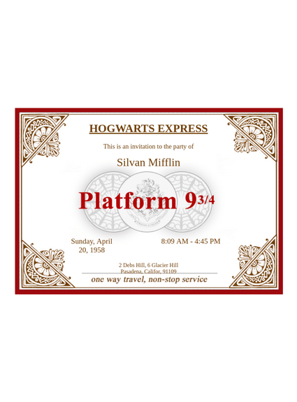 hogwarts express ticket template pdf