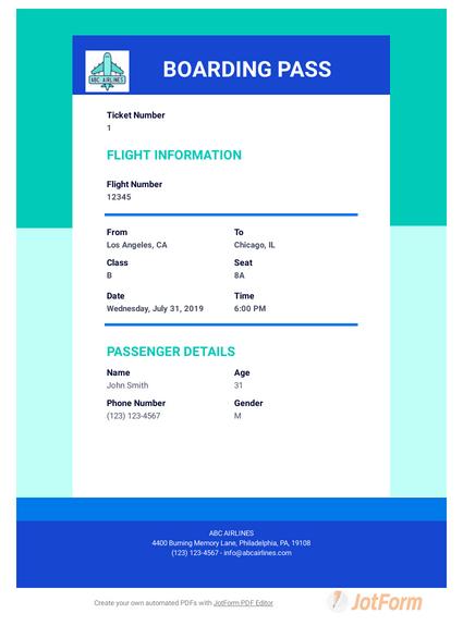 Fake Plane Ticket Generator : plane, ticket, generator, Boarding, Template, Templates, JotForm