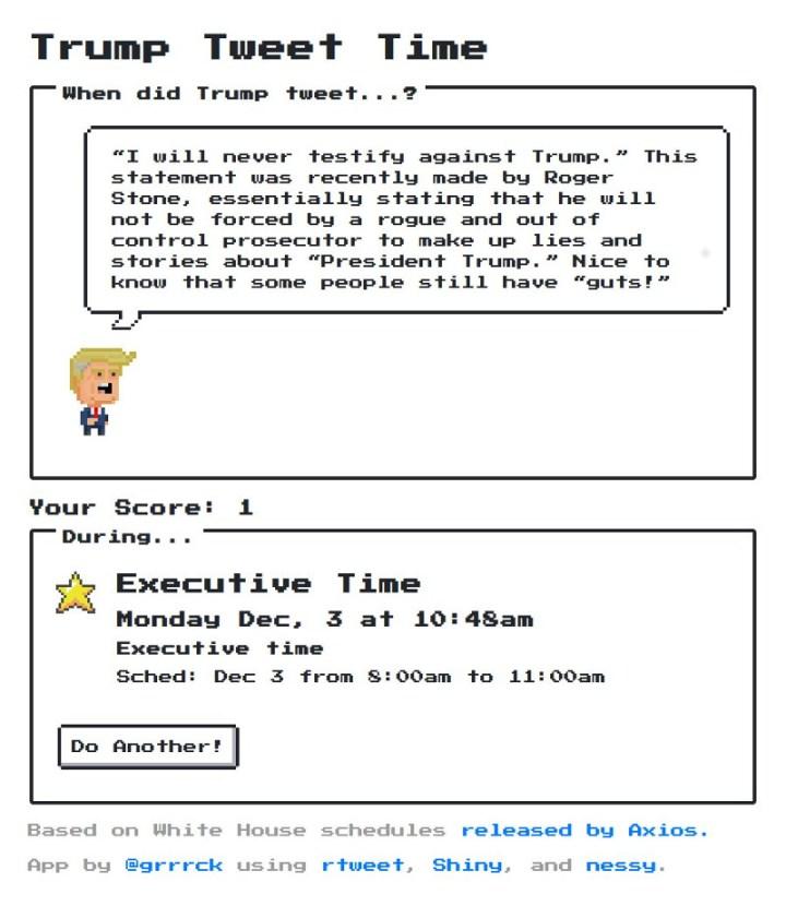 Trump tweet time app screenshot