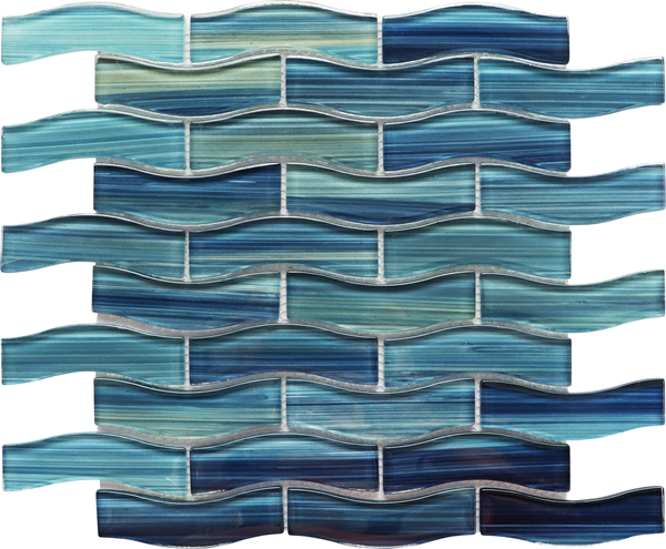 blue crystal recycled glass mosaic