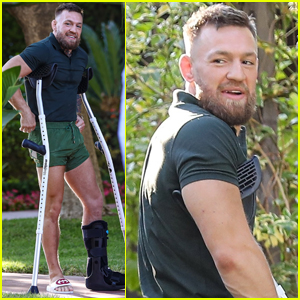 Conor McGregor Uses Crutches During Day Out with His Family