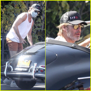 Chris Pine Sports White Tank Shirt for a Ride in His Vintage Porsche