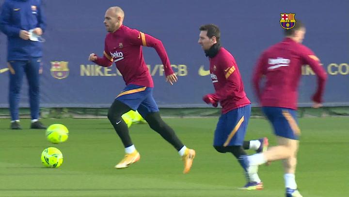 Entrenamiento del Barça antes de recibir a la Real Sociedad