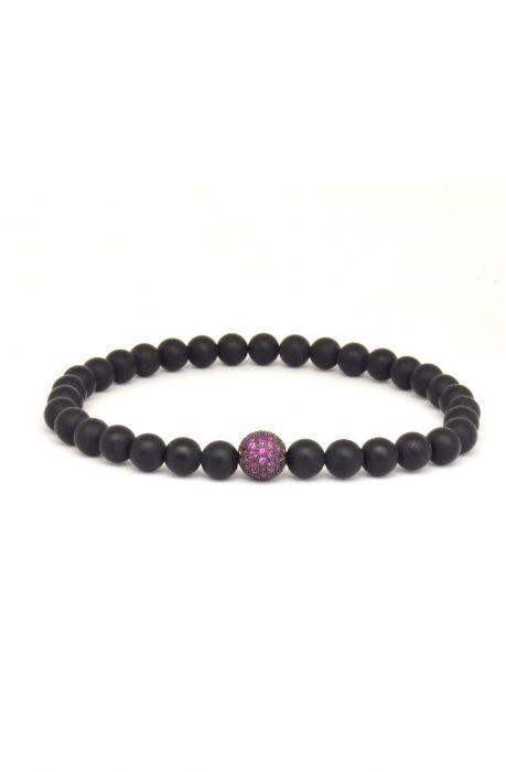 Matte Onyx + Purple Cubic Zirconia Accent Men's Bracelet