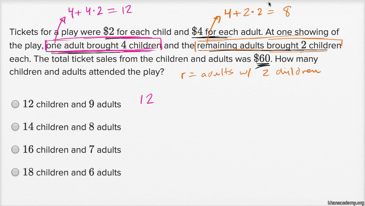 Systems Of Linear Equations Word Problems — Harder Example (Video) | Khan  Academy
