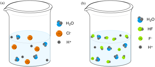 small resolution of on left zoomed in representation of hydrochloric acid solution where the acid is