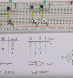 screen capture from video there s a breadboard at the top with wires transistors  [ 1490 x 996 Pixel ]