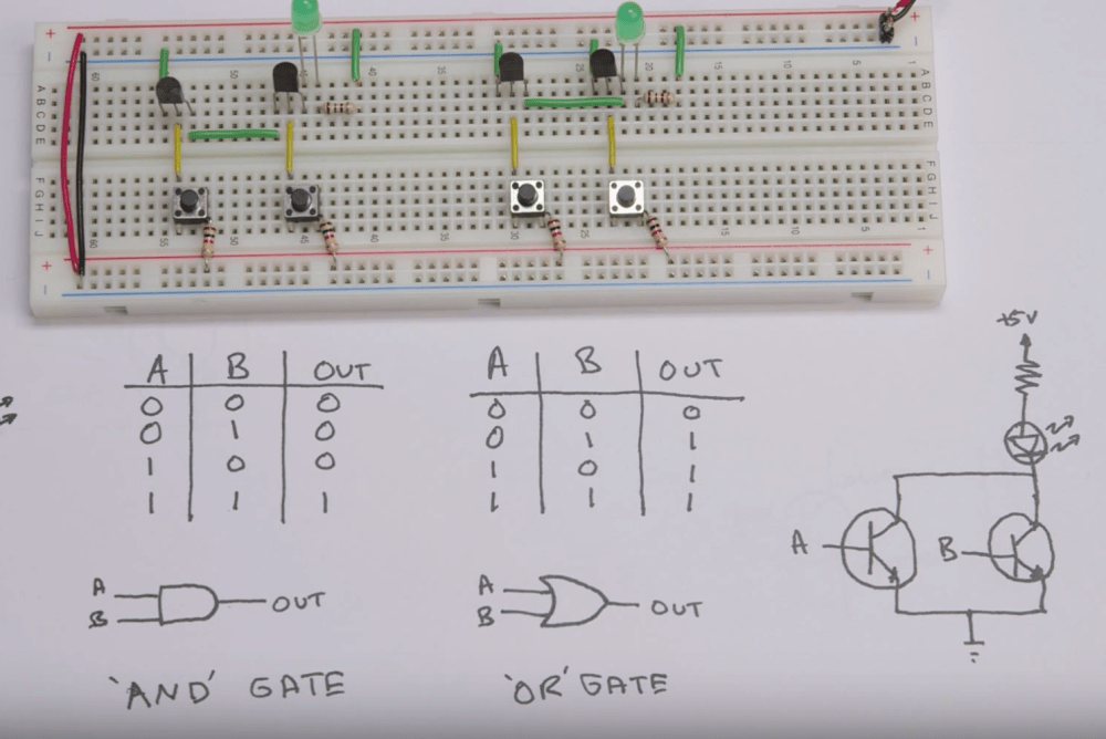 medium resolution of screen capture from video there s a breadboard at the top with wires transistors