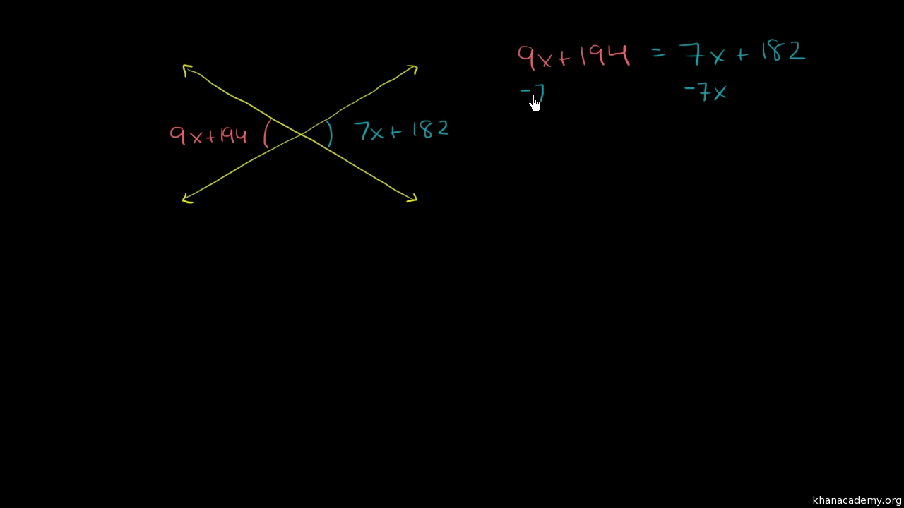hight resolution of Equation practice with vertical angles (video)   Khan Academy