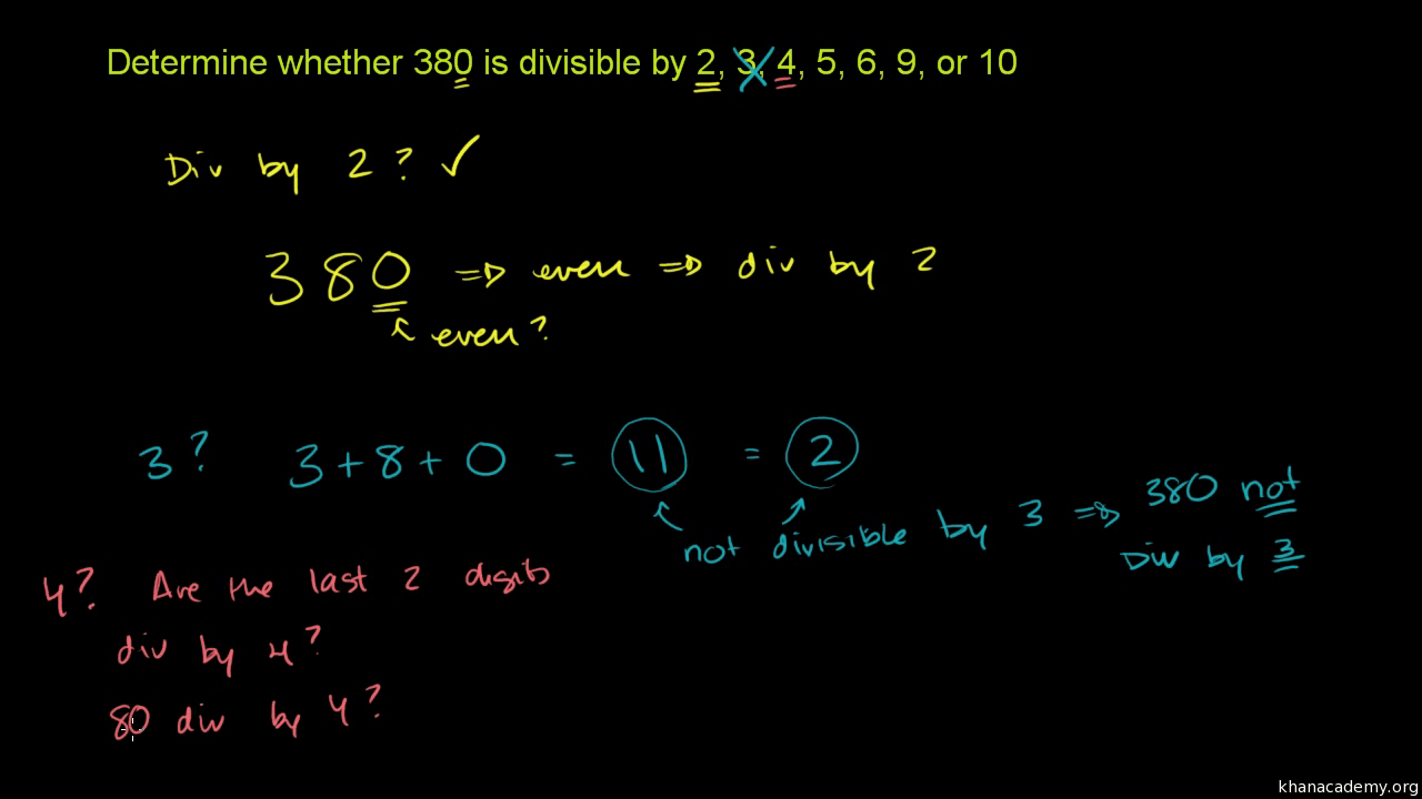 hight resolution of Recognizing divisibility (video)   Khan Academy