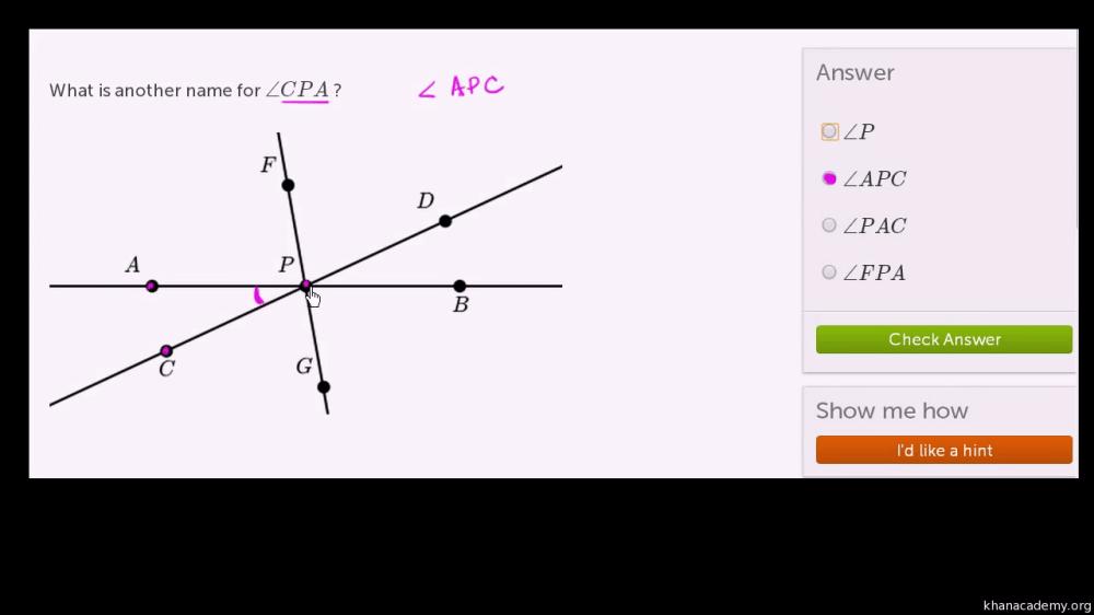 medium resolution of Naming angles (video)   Angle introduction   Khan Academy
