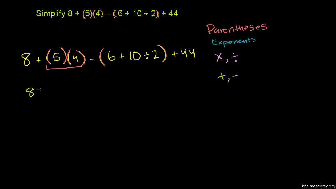 hight resolution of Order of operations example (video)   Khan Academy