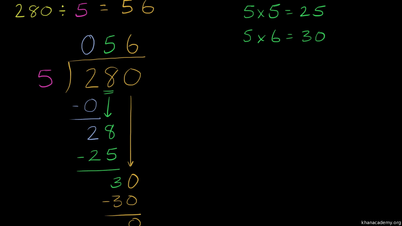 hight resolution of Long division: 280÷5 (video)   Khan Academy