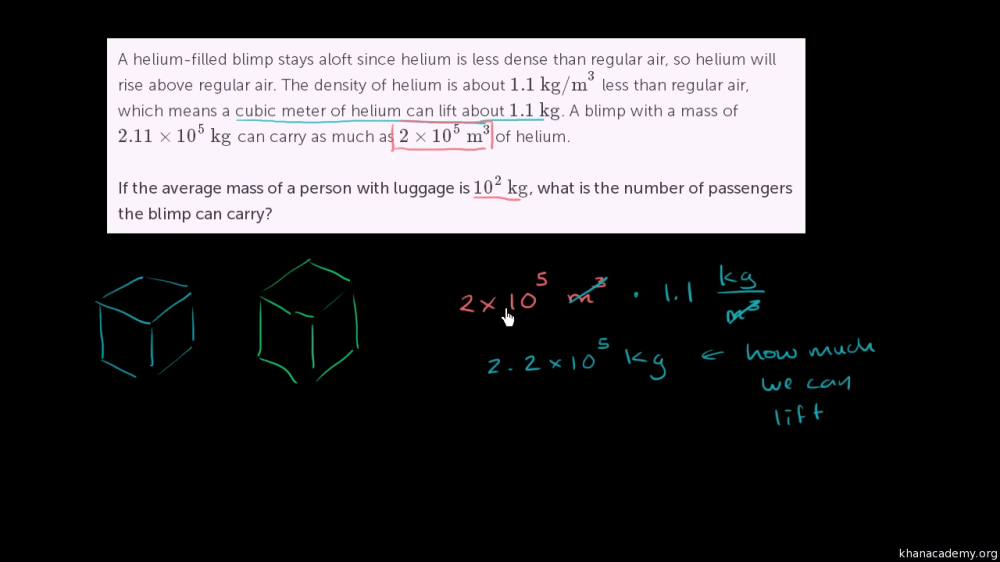medium resolution of Density word problem: blimp (video)   Khan Academy