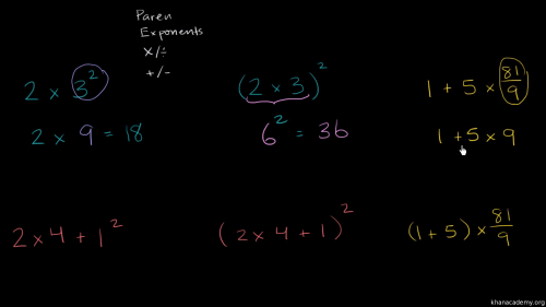 small resolution of Order of operations examples: exponents (video)   Khan Academy