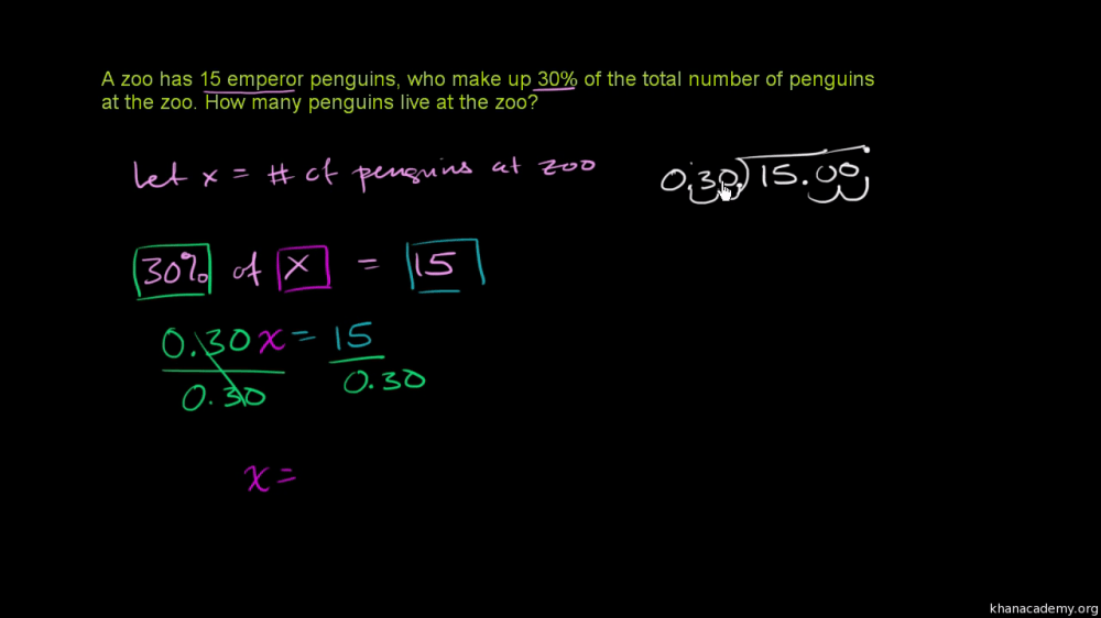 medium resolution of Percent word problem: penguins (video)   Khan Academy