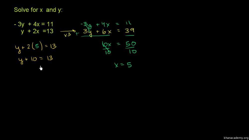 medium resolution of Systems of equations with elimination: -3y+4x\u003d11 \u0026 y+2x\u003d13 (video)   Khan  Academy