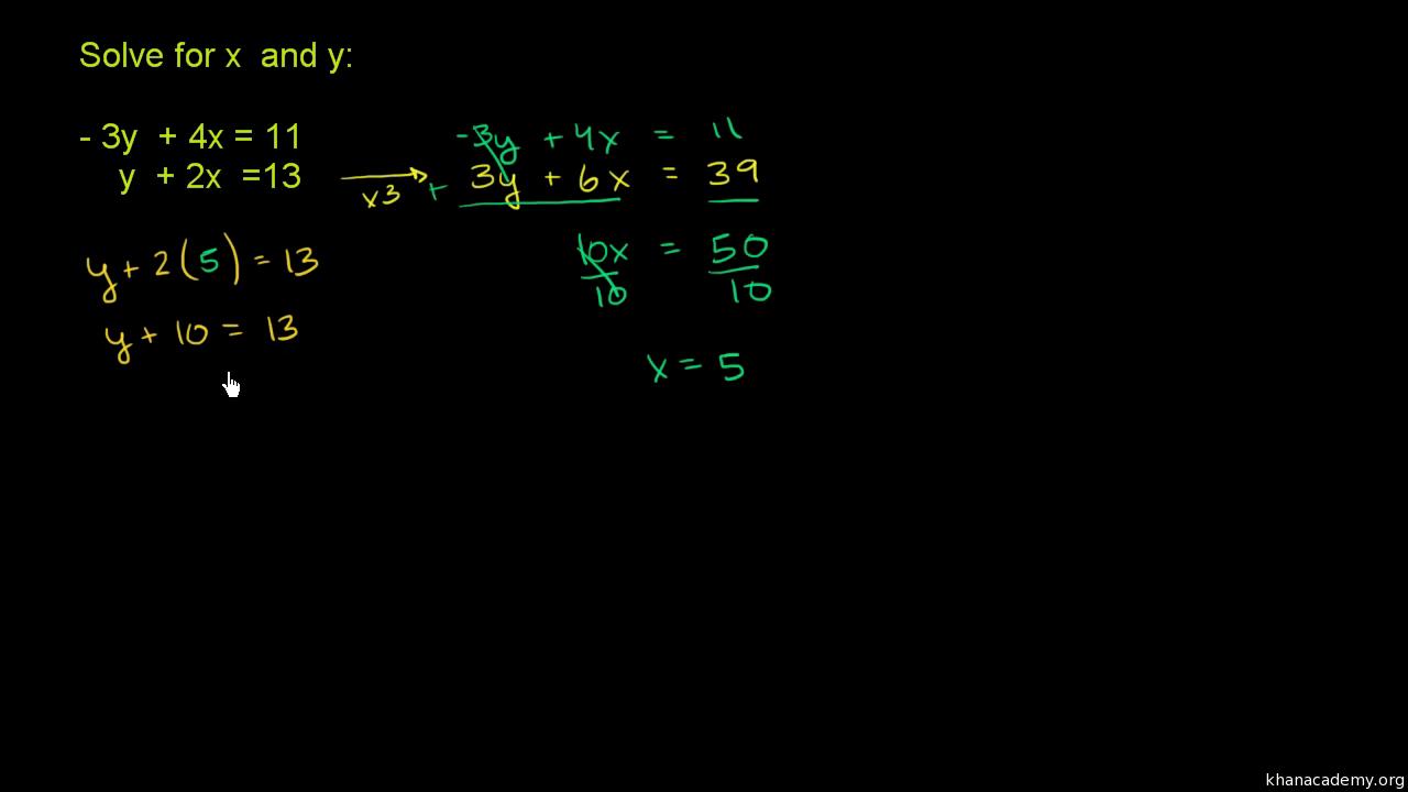 hight resolution of Systems of equations with elimination: -3y+4x\u003d11 \u0026 y+2x\u003d13 (video)   Khan  Academy