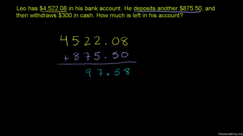 small resolution of Adding \u0026 subtracting decimals word problem (video)   Khan Academy