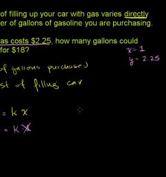 Direct variation word problem: filling gas (video)   Khan Academy [ 720 x 1280 Pixel ]