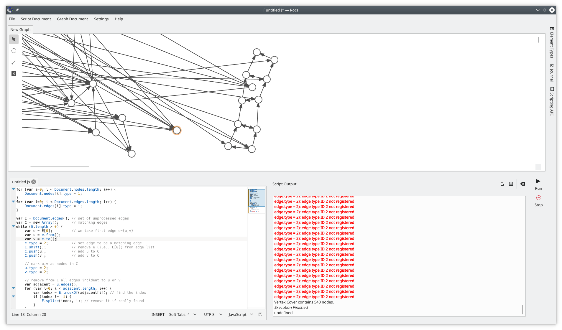 hight resolution of rocs is a graph theory ide for designing and analyzing graph algorithms it provides an easy to use visual editor for creating graphs a scripting engine to