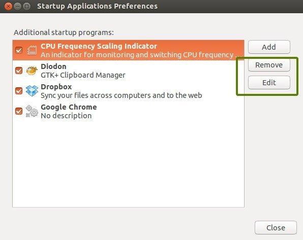Select Ubuntu Startup Applications