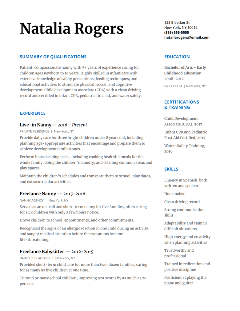 How To Write A Nanny Resume To Wow Any Family With Resume Template  Carecom