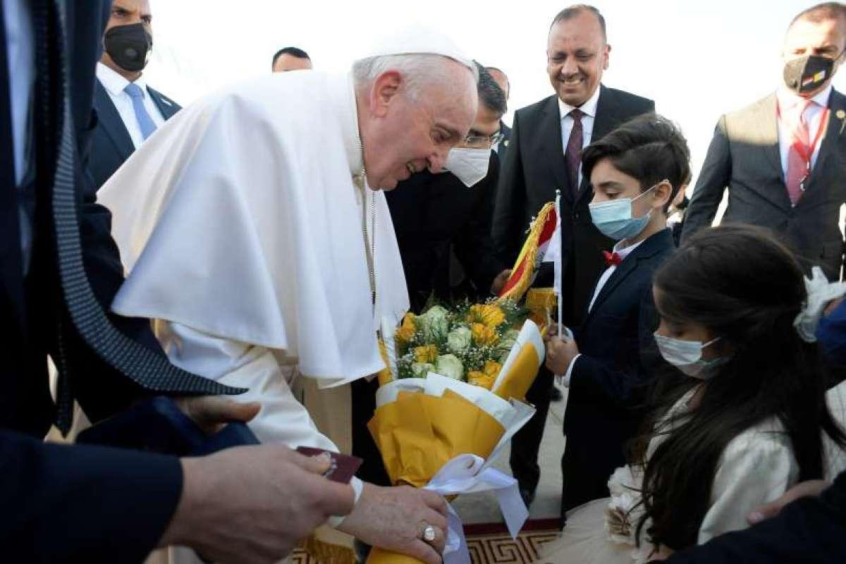 Papež Frančišek z najpomembnejšim iraškim verskim voditeljem
