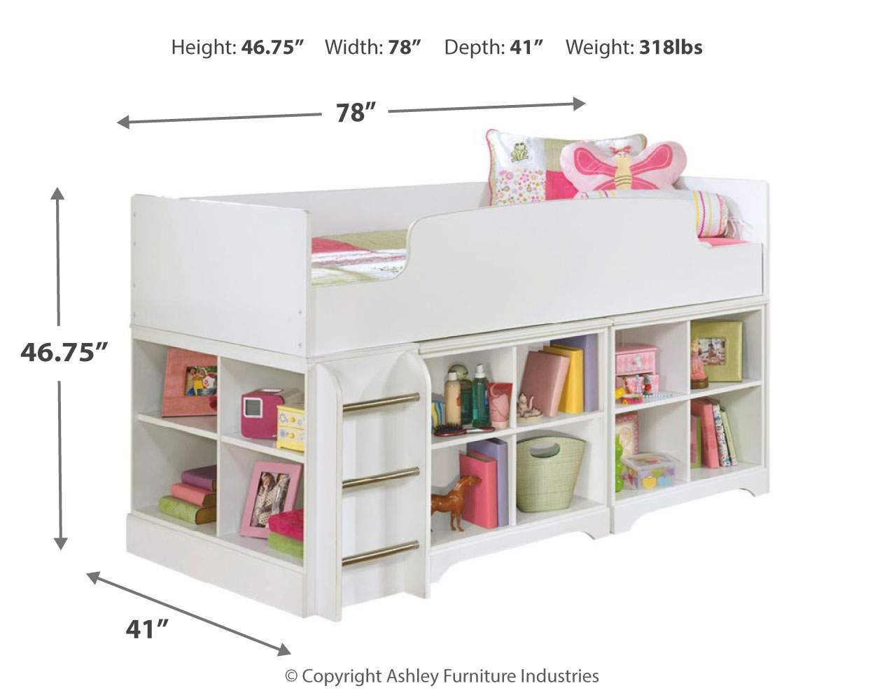 lulu twin loft bed with 2 bookcases by