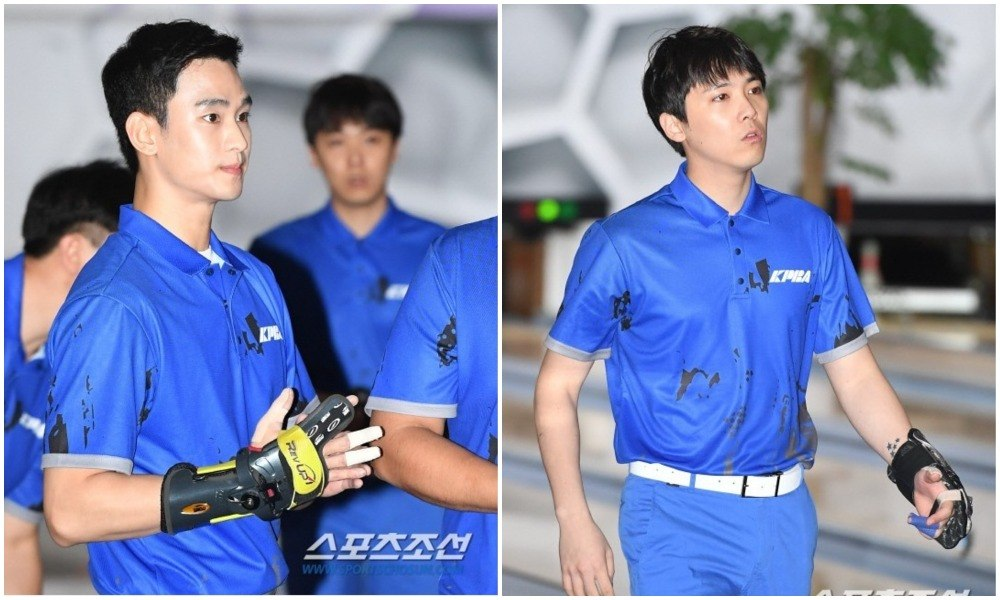 Kim Soo Hyun and Lee Hong Ki bowling / Sports Chosun
