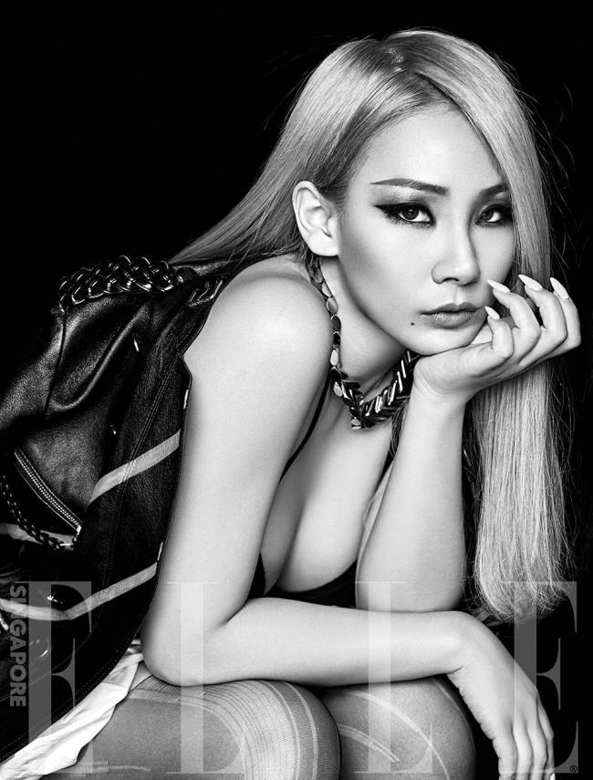 CL pose for Elle Singapore magazine.