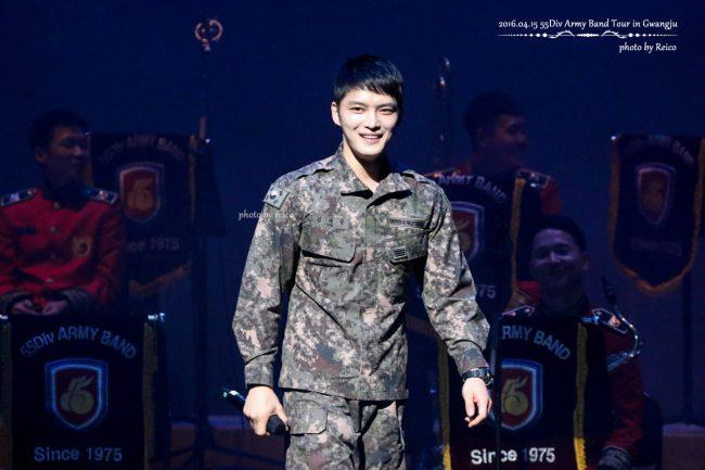 Jaejoong is currently in the military band of his division and often performs.
