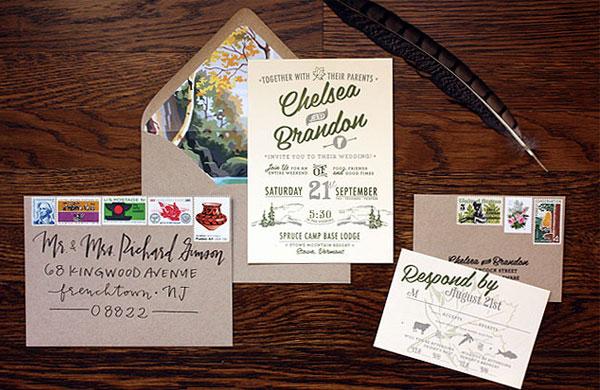 Rustic Vermont Wedding Invitations Paisley Quill