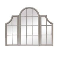 Ventana Aged Stone Grey Triple Window Frame Mirror ...