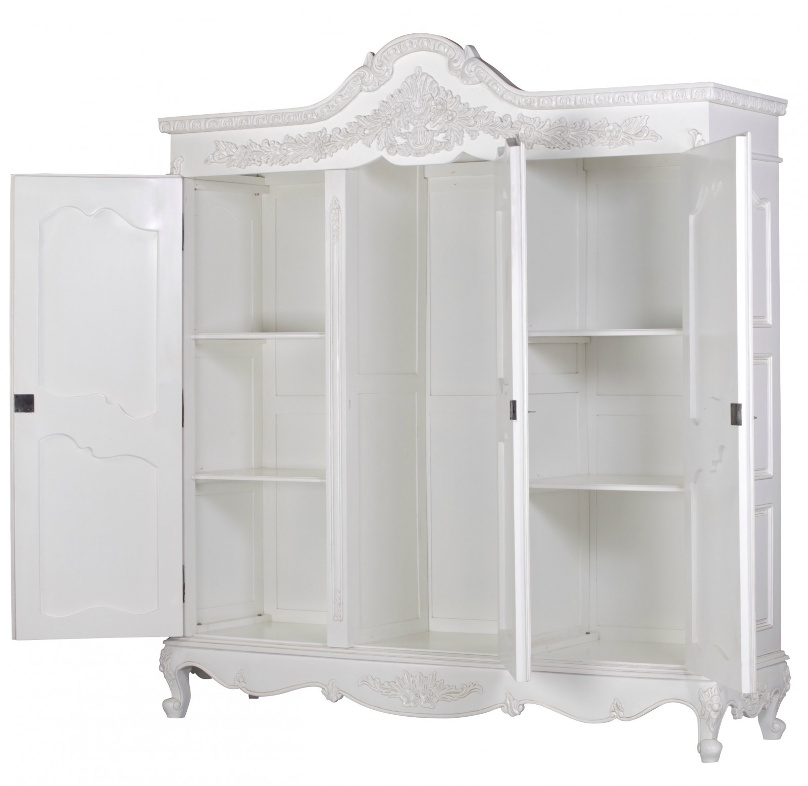 French White Hand Carved Large Triple Armoire Wardrobe
