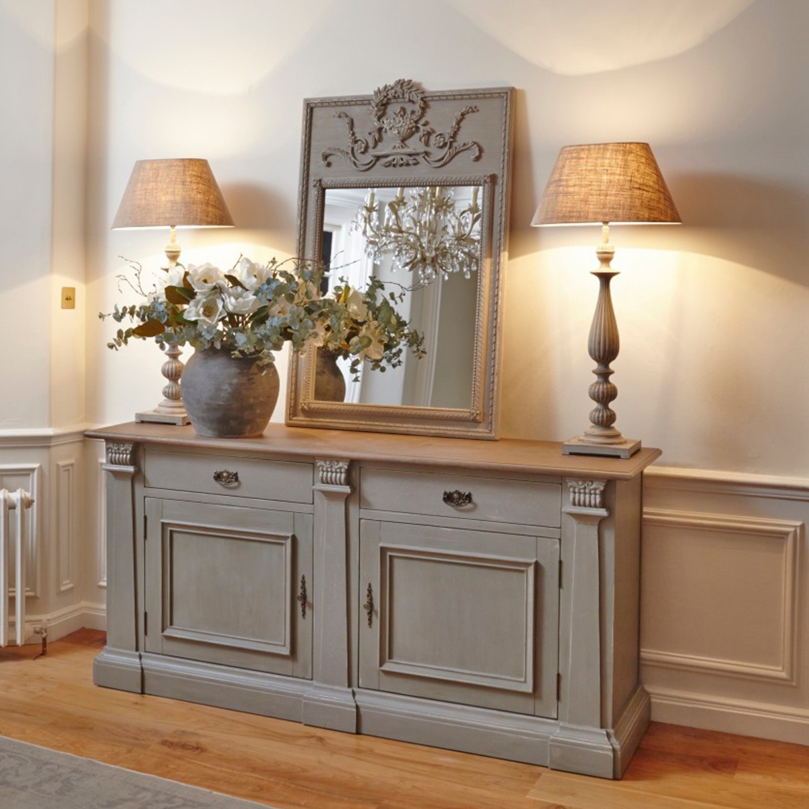 Distressed Grey Sideboard With Oak Top Furniture  La Maison Chic Luxury Interiors