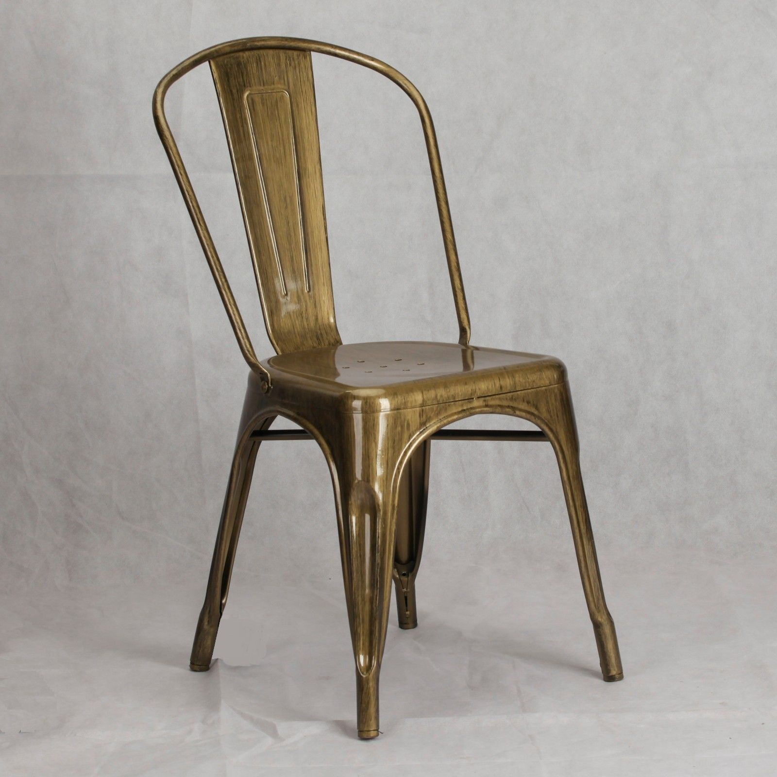 steel chair gold with arm table vintage tolix style metal brass finish dining