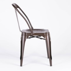 Boondocks Steel Chair Effect Olive Green Industrial Style Metal Zinc Dining Furniture