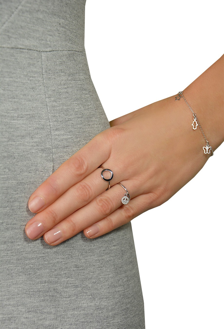 Ring mit Anhnger Peace silber