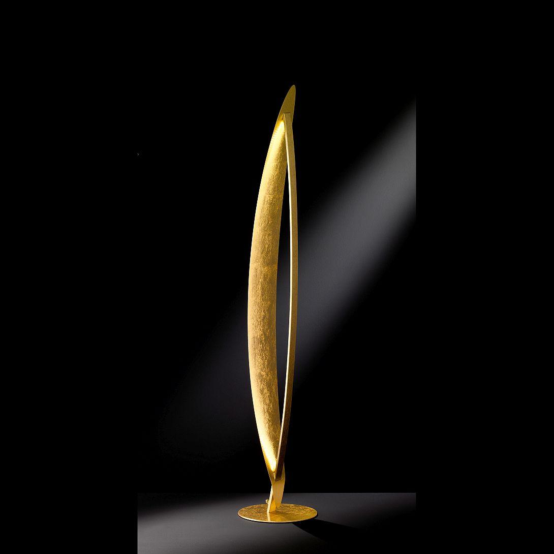LED Stehlampe in gold mit indirekter Lichtabgabe