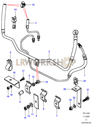 Power Steering Pipes  To JA  Land Rover Workshop