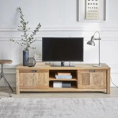 meuble tv en bois de teck recycle 2 portes bois dessus bois dessous