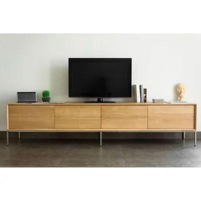 kubico meuble tv 2 tiroirs 2 portes rabattables meuble tele en chene massif delorm