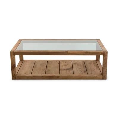 table basse verre et bois rectangulaire